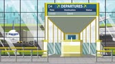 jegy : Flight to Seville on airport departure board. Trip to Spain loopable cartoon animation