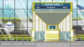viyana : Flight to Vienna on airport departure board. Trip to Austria loopable cartoon animation Stok Video