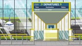 bilhete : Airport terminal. Departure board above the gate with Doha text. Travel to Qatar loopable cartoon animation Vídeos