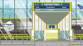 yol : Airport departure board with Columbus caption. Travel in the United States related loopable cartoon animation