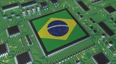 mikroprocesszor : National flag of Brazil on the operating chipset. Brazilian information technology or hardware development related conceptual 3D animation