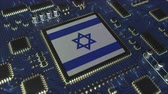 mikroprocesszor : National flag of Israel on the operating chipset. Israeli information technology or hardware development related conceptual 3D animation Stock mozgókép