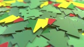 bolivia : Details of flag of Bolivia on the cardboard Christmas trees. Winter holidays related 3D animation Stock Footage
