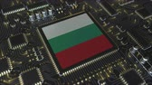 mikroprocesszor : National flag of Bulgaria on the operating chipset. Bulgarian information technology or hardware development related conceptual 3D animation