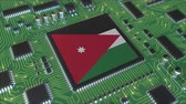 jordanian : National flag of Jordan on the operating chipset. Jordanian information technology or hardware development related conceptual 3D animation Stock Footage
