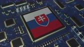 Словакия : National flag of Slovakia on the operating chipset. Slovak information technology or hardware development related conceptual 3D animation Стоковые видеозаписи