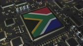 placa : National flag of South Africa on the operating chipset. RSA information technology or hardware development related conceptual 3D animation Vídeos