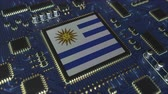uruguai : National flag of Uruguay on the operating chipset. Uruguayan information technology or hardware development related conceptual 3D animation
