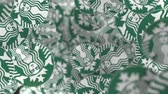 şirket : Many moving logos of STARBUCKS. Editorial loopable motion background