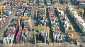 調達 : Aerial hyperlapse of a busy port container terminal