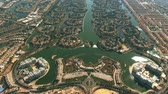 obyvatel : Aerial view of luxury Jumeirah Islands and Jumeirah Park communities in Dubai, United Arab Emirates UAE