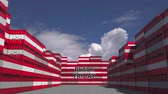 goede vrijdag : Cargo containers with BLACK FRIDAY text and national flags of Austria. Austrian commerce related 3D animation