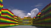 goede vrijdag : Cargo containers with BLACK FRIDAY text and national flags of Bolivia. Bolivian commerce related 3D animation