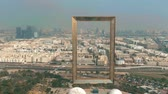 emelvény : DUBAI, UNITED ARAB EMIRATES - DECEMBER 26, 2019. Aerial shot of the famous Dubai Frame