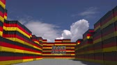 goede vrijdag : Cargo containers with BLACK FRIDAY text and national flags of Germany. German commerce related 3D animation