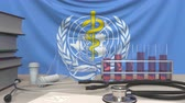 chi : Laboratory equipment on flag of World Health Organization WHO background. Global medical research related editorial animation
