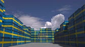 goede vrijdag : Containers with BLACK FRIDAY text and national flags of Sweden. Swedish commerce related 3D animation