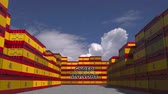 manuseio : Containers with CYBER MONDAY text and national flags of Spain. Spanish online commerce related 3D animation