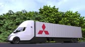 tracteur : Electric semi-trailer truck with MITSUBISHI logo on the side. Editorial loopable 3D animation