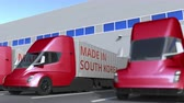 南の : Modern semi-trailer trucks with MADE IN SOUTH KOREA text being loaded or unloaded at warehouse. South Korean business related loopable 3D animation