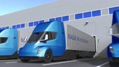 ungarn : Modern semi-trailer trucks with MADE IN HUNGARY text being loaded or unloaded at warehouse. Hungarian business related loopable 3D animation
