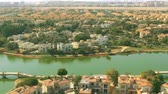 사치 : Aerial shot of luxury Jumeirah Islands community waterfront villas in Dubai, UAE
