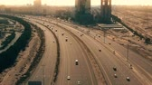 dálnice : Aerial view of a big bent highway in Dubai, UAE