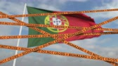 portugalia : Do not cross biohazard tape lines on the Portuguese flag background. Restricted entry or quarantine in Portugal. Conceptual looping 3D animation