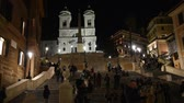 architektonický : Rome Trinita dei Monti church, spanish steps and realism video in the early morning