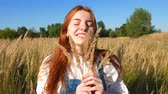 red-haired girl in blue overalls in a field of spikelets Stock mozgókép