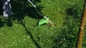 коса : A guy in a pink T-shirt mows the grass with an electric scythe