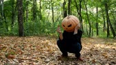 agudo : Sad pumpkin-headed man sitting on the ground in the autumn forest. Halloween concept.4k