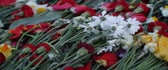 официальный : Victory Day, a non-working holiday, that commemorates the capitulation of Nazi Germany to the Soviet Union during the Second World War. Close up of flowers placed at a monument, in Latvia. Стоковые видеозаписи