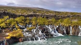 fúria : HD video of beautiful turquoise waterfalls in Iceland. HDR, HD video
