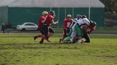 gridiron : Defence team trying to intercept ball, players running to the end zone, sport Stock Footage