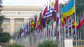 geneva : United Nations Office at Geneva in Switzerland, alley of member countries flags
