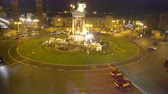 plaza de espana : Traffic on amazing central square in Barcelona, Spain, night view from elevator