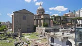 císař : Ancient ruins of Roman Forum, panoramic view on Santi Luca e Martina church