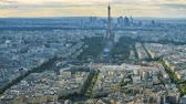 group of towers : Aerial view of evening Paris, Eiffel Tower with balloon flying in air, timelapse