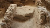 kazılmış : Ruins of ancient settlement on preservation site of Akrotiri village in Greece