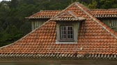 yıpranmış : Roof of ancient house covered with old peeled red tile, cozy attic at home Stok Video