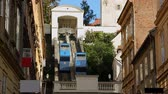funicular : View on moving cabins of Zagreb funicular from Tomic street, transportation Stock Footage