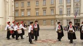 necktie : Historical performance in Zagreb, Cravat Regiment, guard of honour, reenactment Stock Footage