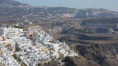 maradványok : Fira town located on volcanic islands, travel to Santorini, aerial panorama