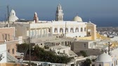 Киклады : St John the Baptist Cathedral, Roman Catholic church in Fira on Santorini island Стоковые видеозаписи
