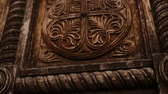 elaborate : Wooden carved patterns on doors with big handles, old building, architecture