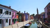 припаркован : Sunny day in Venice, view on colorful houses and canal, tourism, architecture
