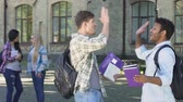 akademie : Cheerful multiethnic male students rejoicing successful test passing, slowmotion
