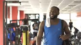 workout : Afro-american man finished training and ready to start new day in great mood Stock Footage