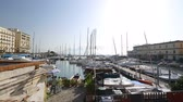 nápoles : Wonderful view of port and parked yachts, water transport in Naples, Italy